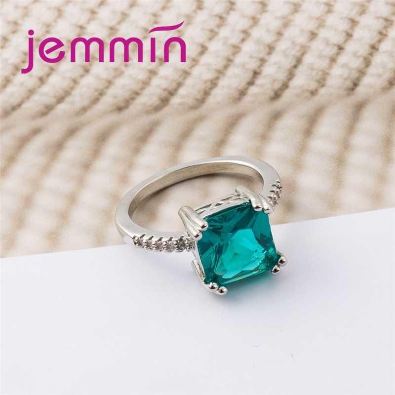 New Arrival Fashion Lady duży zielony kwadrat biały CZ kamień 925 srebro okrągły pierścień biżuteria kobiety wesele
