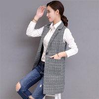 Plaid vest women's long spring and autumn new slim slimming sleeveless fashion large size(S 5XL) women's vest TB190112