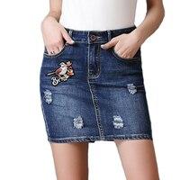 Plus Size Bird Embroidered Bodycon Sexy Denim Skirt Women Short Hole Pockets Jeans Mini Summer Skirts