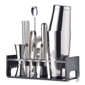 Greenhill Premium Barware Set, 15 Pieces including Shaker, Jigger, Ice Tong, Strainer, Pourer, Muddler, Straw, Spoon & Holder