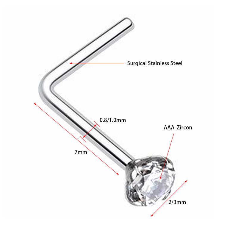 1 Máy tính Phẫu Thuật Thép Không Gỉ Với Zircon Đá Quý Vành Đai Mũi Nhọn Phổ Bộ 20G 316L Phẫu Thuật Thép Pha Lê Mũi Xuyên cơ thể Trang Sức