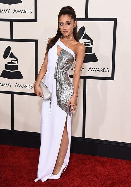 2015 57th грэмми красной ковровой дорожке вечернее платье белый одно плечо влагалище ну вечеринку платье ариана гранде платья знаменитостей