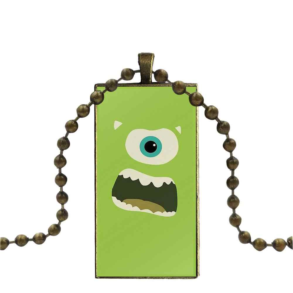 For Men Women Gift Monsters University Series Fashion Glass Cabochon Pendant Necklace With Women Bronze Plated Statement Jewelry