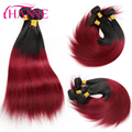 Ombre Indian Straight Hair 3pcs/lot Dark Burgundy Weave Indian Virgin Hair 7A Red Ombre Hair Extensions Hanne Rosa Hair Products