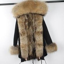 Мужские парки Для женщин зима длинные Натуральный мех пальто Обувь на теплом меху пальто Куртки натуральный мех енота меховой воротник реального енота Мех Lined Parka