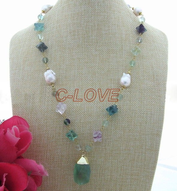 Natural White Keshi Pearl Necklace Green Fluorite Pendant  free shippment