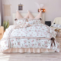 Egyptian cotton White pastoral floral lace Korean princess bedding set 3/4pcs for girls twin queen King size ruffle bed skirt