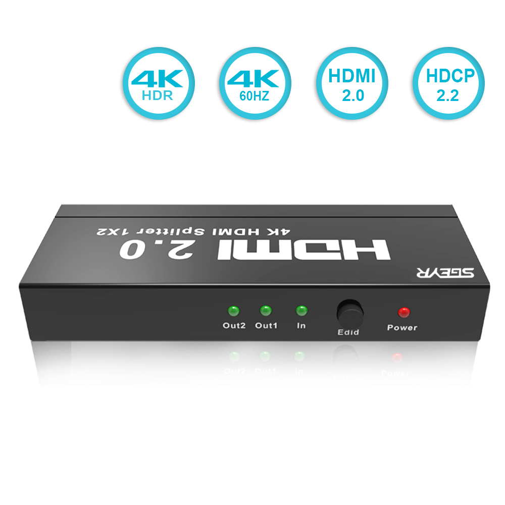 SGEYR 2 Way HDMI Splitter 1x2,HDMI 2.0 Splitter Compliant with 2.2 HDCP Support 4K@60Hz HDMI 2.0 HDCP 2.2 3D 2160P 1 In 2 Out цена и фото