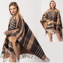Ponchos Caps for Women Winter Scarf Blanket Simple Stripe Plaid Shawls and Wraps Thicken Tassels Pashmina Ladies Cloak 2019 New