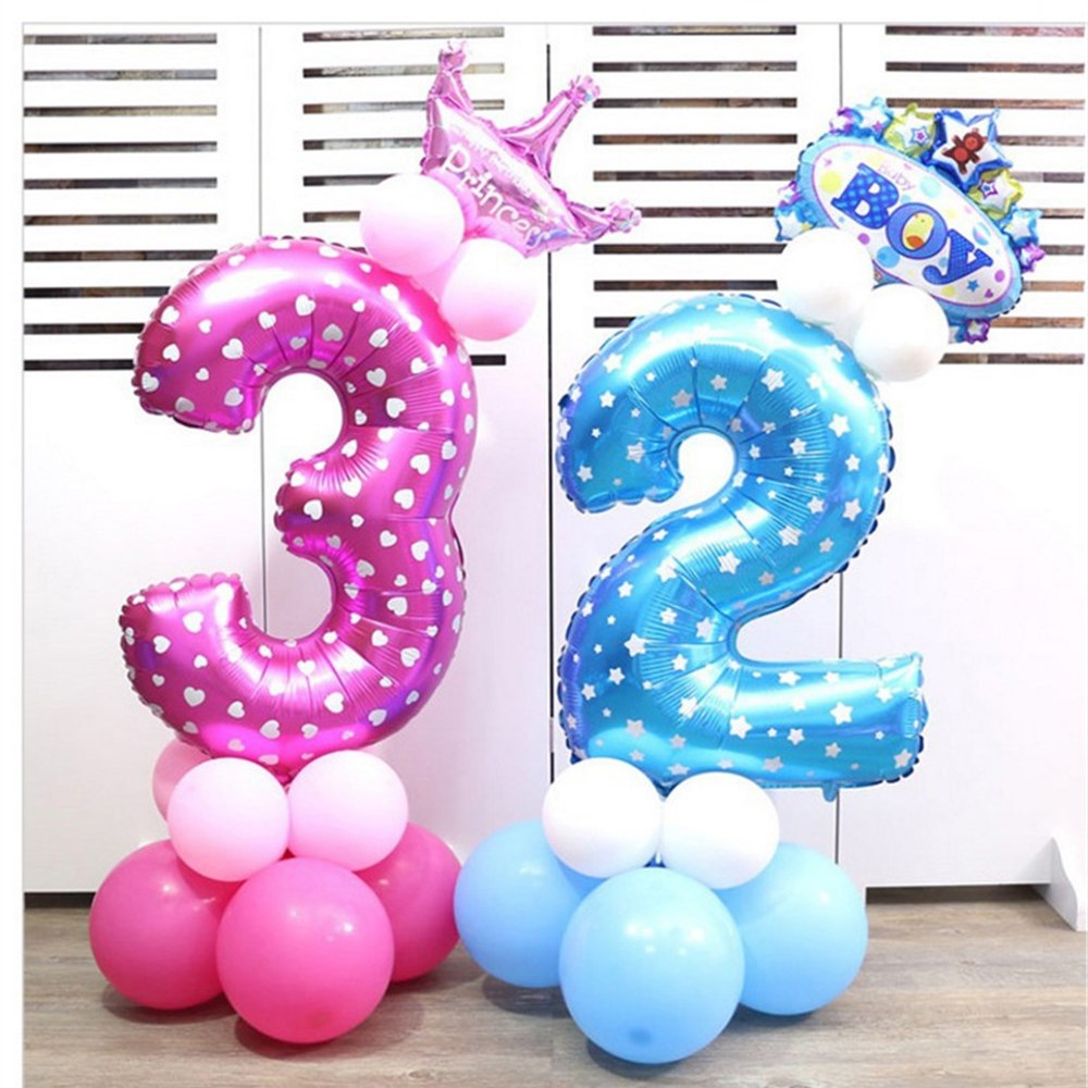 18pcs Blue Pink Foil Number Balloons with Latex Air Balloon Happy Birthday Balloon Party Decorations Kids Baby Shower Supplies in Ballons Accessories from Home Garden