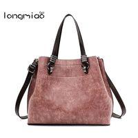 Longmiao Scrub Plain Leather Bags Women Handbags Casual Tote High Quality Soft PU Ladies Large Capacity