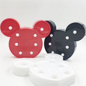 Image 3 - Leedome 3D Romantic Lamp LED Night Light Mickey Style Lamp Marquee Home Christmas AA Battery LED Nightlight For Home Decor