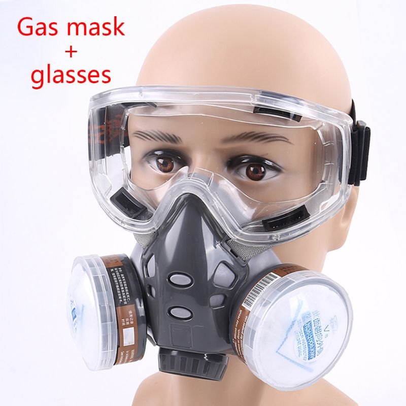 1Set 308 Full Face Respirator Dust Gas Mask for Painting Spray Pesticide Chemical Smoke Fire Protection