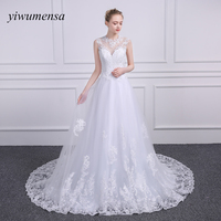 Yiwumensa Vestido De Novias Lace A Line Vintage Wedding Dresses Sleeveless Wedding Dress 2017 Sexy Bridal