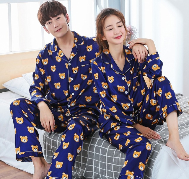 New Arrivals 2018 Lovers Pyjamas Women Silk Satin Pajama Sets Cartoon Bear Couple Pajamas For Women Sleepwear Sets Pijama Mujer