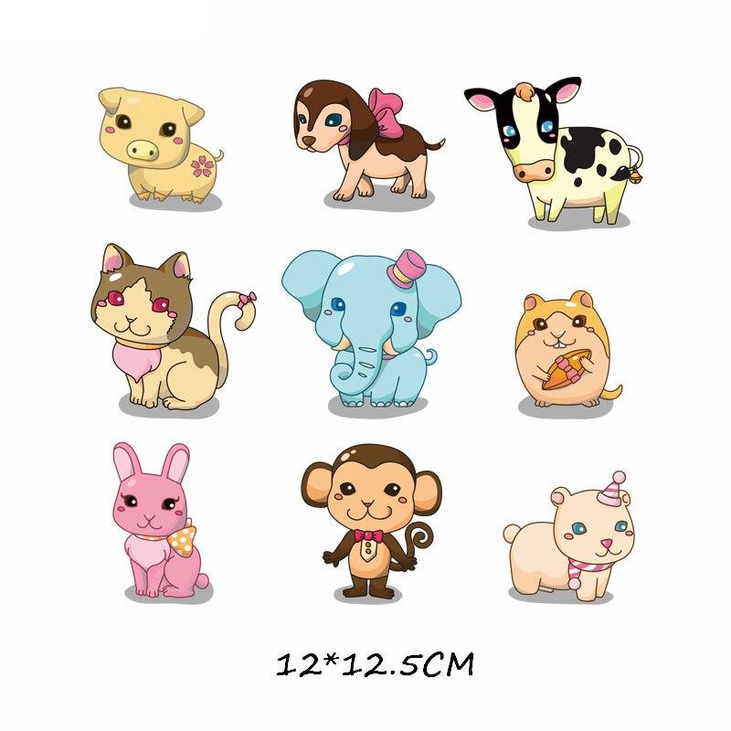 Набор патчей с изображением животных из мультфильмов, милые патчи с изображением единорога, кошки, совы, собаки, цветов для детей, одежда для девочек, футболка, сделай сам, термопресс - Цвет: 719