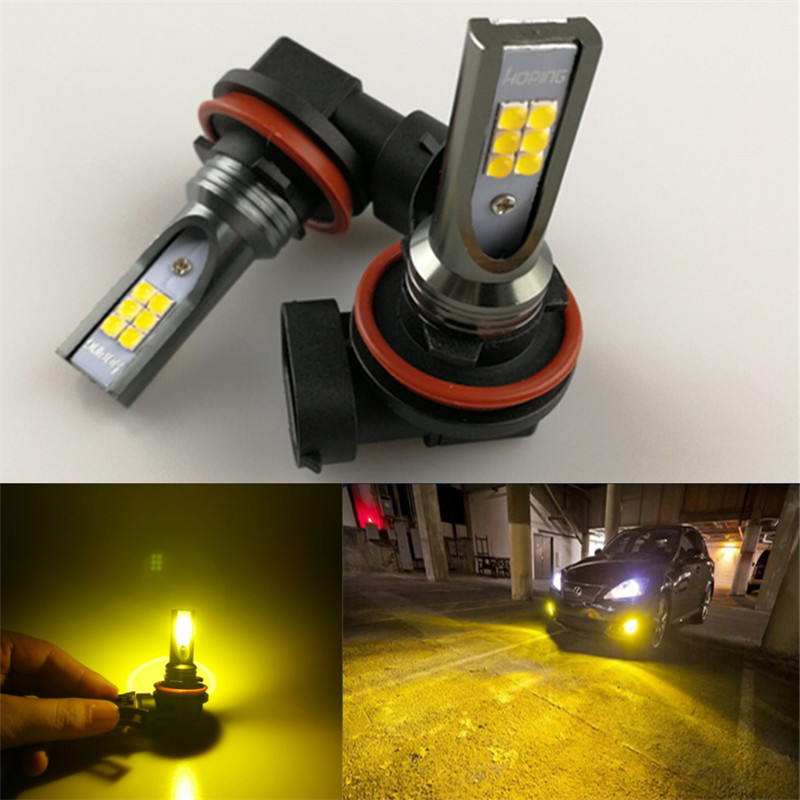 Hoping Car Led 9005 hb3 9006 hb4  LED 3000K Gold Amber Headlights Fog Daytime Driving Running Lights Bulbs 2pcs 12smd 2pcs 20w 4led hb3 9005 hb4 9006 h10 bulb car fog light car headlights lamp bulbs white 6000k dc12v 24v