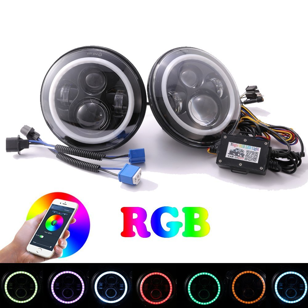 7'' LED Headlights Bulb RGB Halo Angel eyes with Bluetooth Remote for Jeep Wrangler JK TJ LJ Hummer H1 H2 Headlamp Driving light 4 90mm rgb led lights wholesale price led halo rings 12v 10000k angel eyes rgb led angel eyes for byd for chery for golf4