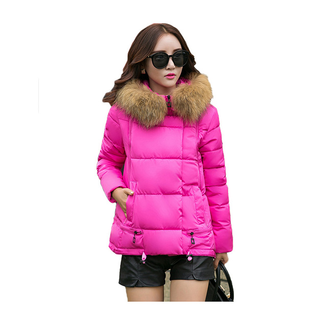 2016 New Winter Womens Parka Casual Outwear Hooded Candy Color Coat Female Fur Coats Jackets ST220