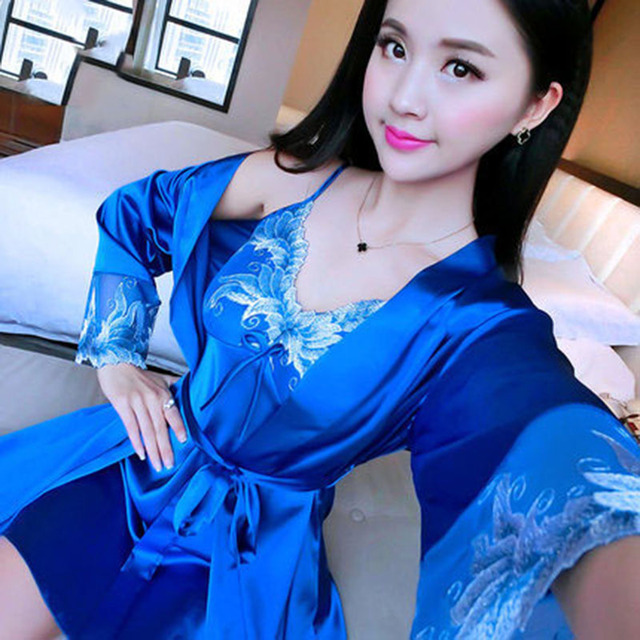 Women Pajamas 2 Pieces Spring Nightgown Robe Suit Sexy Silk Robes Women's Pajamas Nightgown Sleepwear Lace Nightdress Home Suits