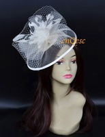 Cream ivory Crin fascinator veiling fascinator for kentucky derby hat Wedding Derby Races.