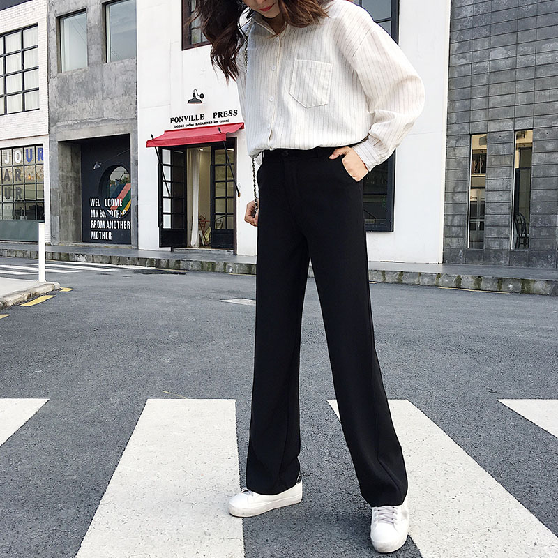 Tall women long pants full length smooth fabric straight wide leg pants female casual loose solid black trousers kpop fashion 5