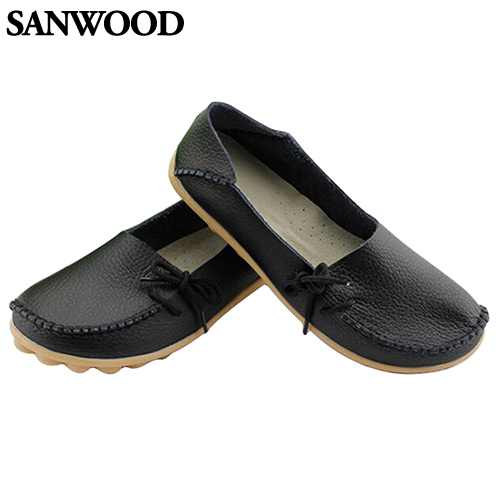 2016 Fashion Product Fashion Women Leather Slip on Flat Shoes Moccasin Bow Casual Loafer Boat Shoes 2016 men s casual crocodile genuine leather boat shoes slip on velvet loafers moccasin fashion flat shoes men s loafer shoes new