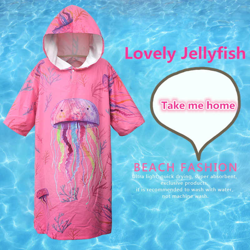 素敵なクラゲ変更ローブバスタオル屋外大人のフード付きビーチタオルポンチョ浴衣タオル女性男バスローブ LST
