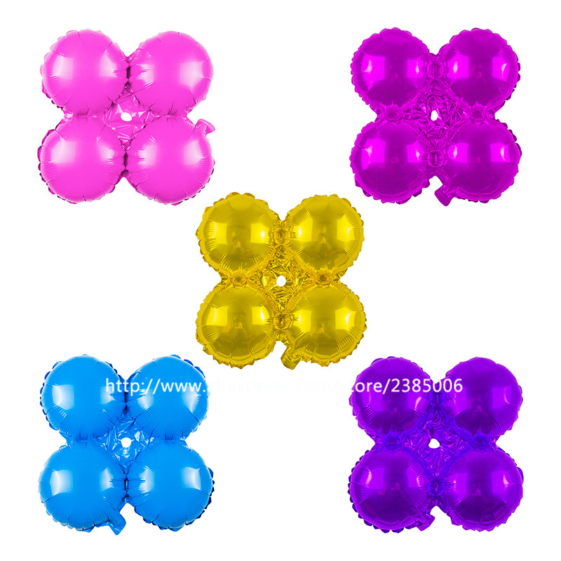Ballons & Accessories 50pcs/lot New Multicolor Round Shaped Four Saheres Air Balloon Four-leaf Clover Arch Decoration Balloon For Wedding Toys Home & Garden