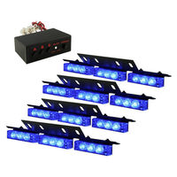 CYAN SOIL BAY 4 X 9 LED Emergency Car Auto Boat Truck Flashing Strobe Lights Grill Blue