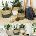 Handgemachte Bambus Lagerung Körbe Faltbare Wäsche Stroh Patchwork Wicker Rattan Seegras Bauch Garten Blumentopf Pflanzer Korb Aufbewahrungskörbe Heim und Garten -