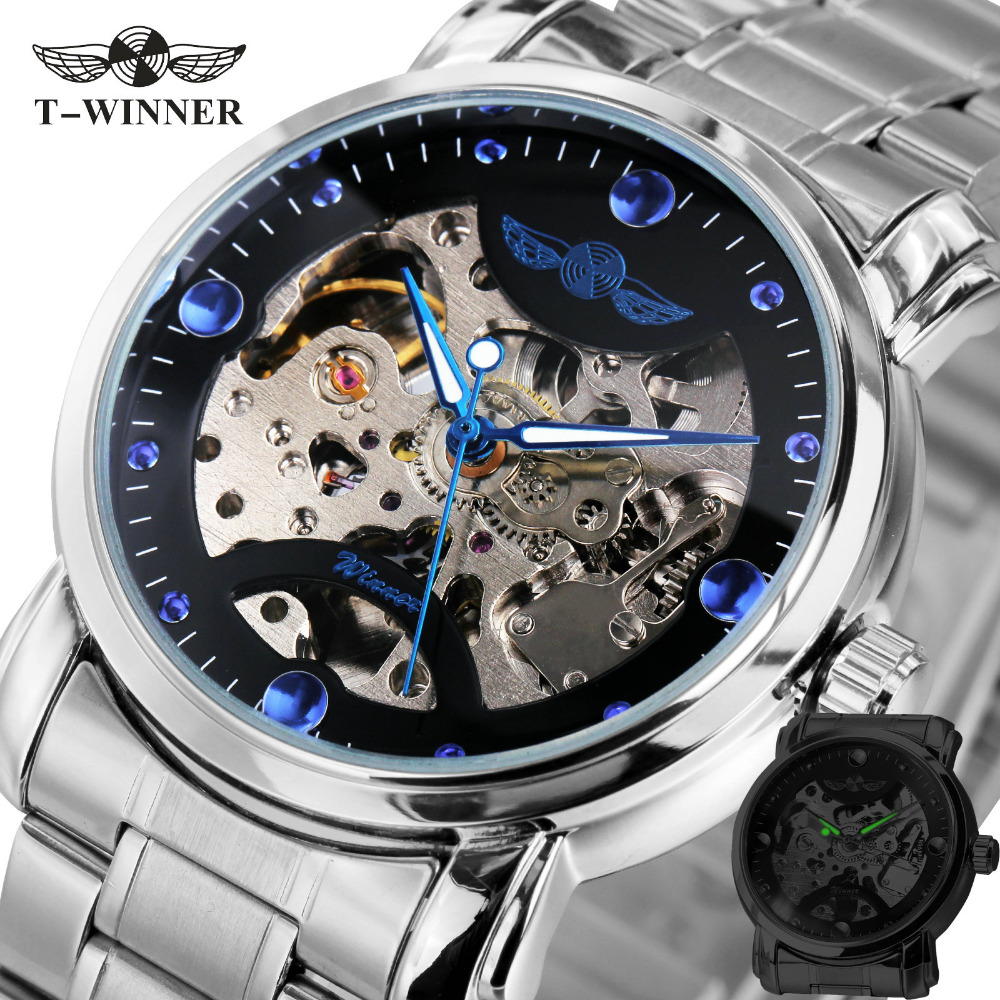 WINNER Mens Watches 2017 Fashion Mechanical Watches Top Brand Luxury Full Stainless Steel Men Skeleton Automatic Watch Gifts mce automatic watches luxury brand mens stainless steel self wind skeleton mechanical watch fashion casual wrist watches for men