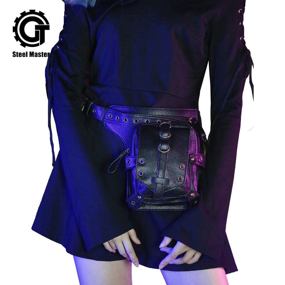 Sac à bandoulière en cuir noir sac Messenger rétro sac à jambe en cuir moto sac Punk rétro Rock hommes et femmes