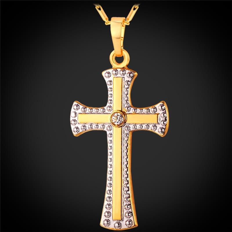 Mini Femmes 10k Jaune Or Blanc Jésus Crucifix Croix Chrétienne Charme Pendentif