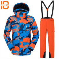 TENNEIGHT Winter Ski Suit Men's Windproof Waterproof Thermal Outdoor Skiing Snowboarding Jacket And Pants sets Climbing Skating