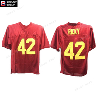 Американский футбол Джерси Boyz N капюшон Рикки Бейкер #42 Футбол Джерси Моррис каштан зверь Beat возврат Для мужчин красный двойной