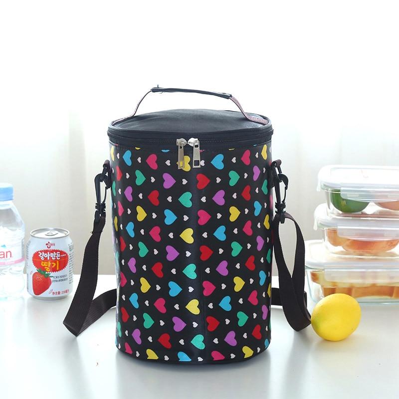 Круглые коробки сумка для ланча Водонепроницаемая Термосумка ремень для барабана portableLarge - Цвет: Коричневый