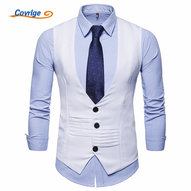 Covrlge Brand Men Jacket Sleeveless Suit Vest Casual Coat Single Breastedt MWX026
