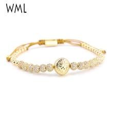 Luxury CZ Lion head bracelet ball Charm copper Beads Braided macrame gold jewelry men Bracelets Bangles for mens accessories стоимость