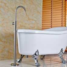 Wholesale and Retail Brushed Nickel Bath Tub Filler Shower Mixer Taps Floor Mounted