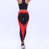 2017 New Love Heart Chắp Vá Trắng Đen sporting nữ xà cạp sexy tập thể dục lady legging giải trí phụ nữ sportes legging