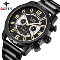 NORTH Mens Watches Top Brand Luxury Chronograph Quartz Watch Men Full Steel Large Dial Casual Military Watches Relogio Masculino