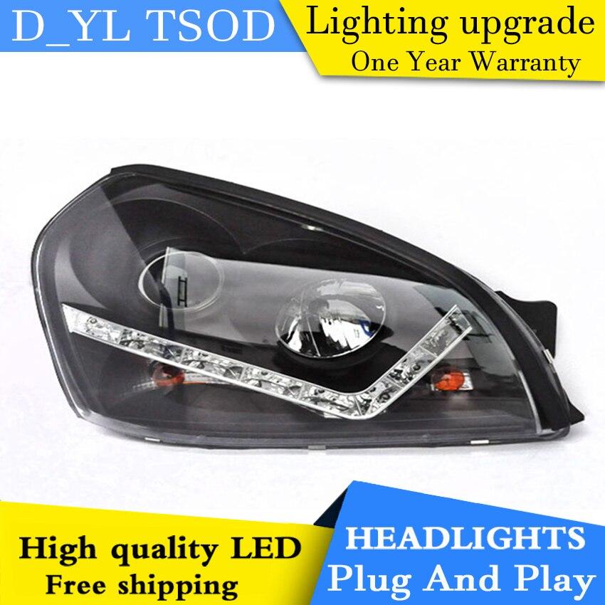 D YL Car Styling for Hyundai Tucson Headlights 2005 2009 Tucson LED Headlight DRL Lens Double