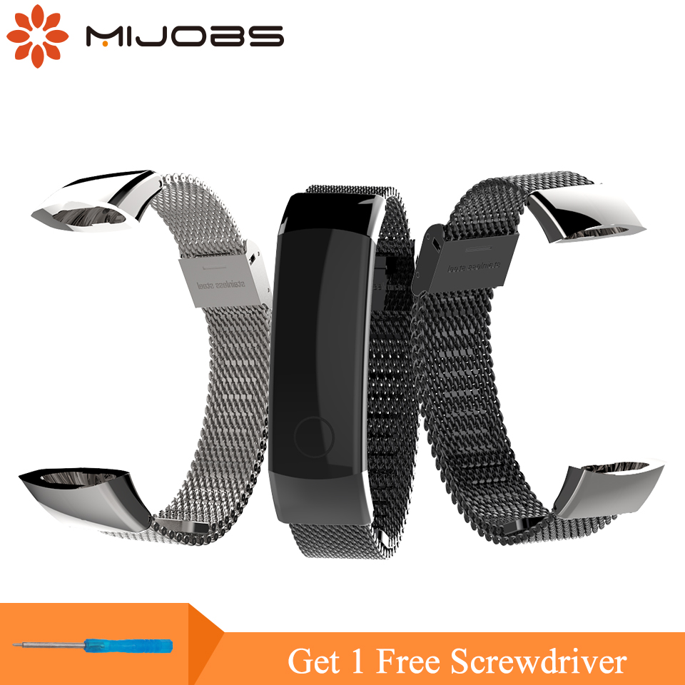 Mijobs 155-225mm Milanese Strap for Huawei Honor Band 3 Smart Watch Wristband Stainless Steel Bracelet Wrist Strap for Honor 3