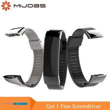 Mijobs 155-225mm Milanese popruh pro Huawei Honor Band 3 Smart hodinky náramek Nerezový náramek náramkový zápěstí pro Honor 3