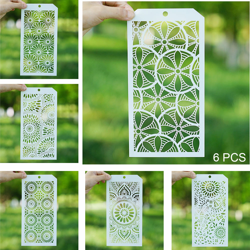 6 PCS 12*24 Cm Seamless Stencil For Scrapbooking Painting Album Paper Card Making Craft Decorative Embossing Template