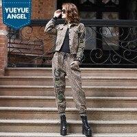 2019 Boyfriend Punk Leopard Denim Short Jacket Harem Pants 2PCS Set Women Motorcycle Biker Suits Casual Beads Embroidery Outfits