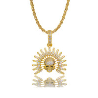 LuReen Iced Out Indian Chief Head Pendant Necklace Retro Hip Hop Micro Pave Cubic Zirconia Stones Pendant Jewelry
