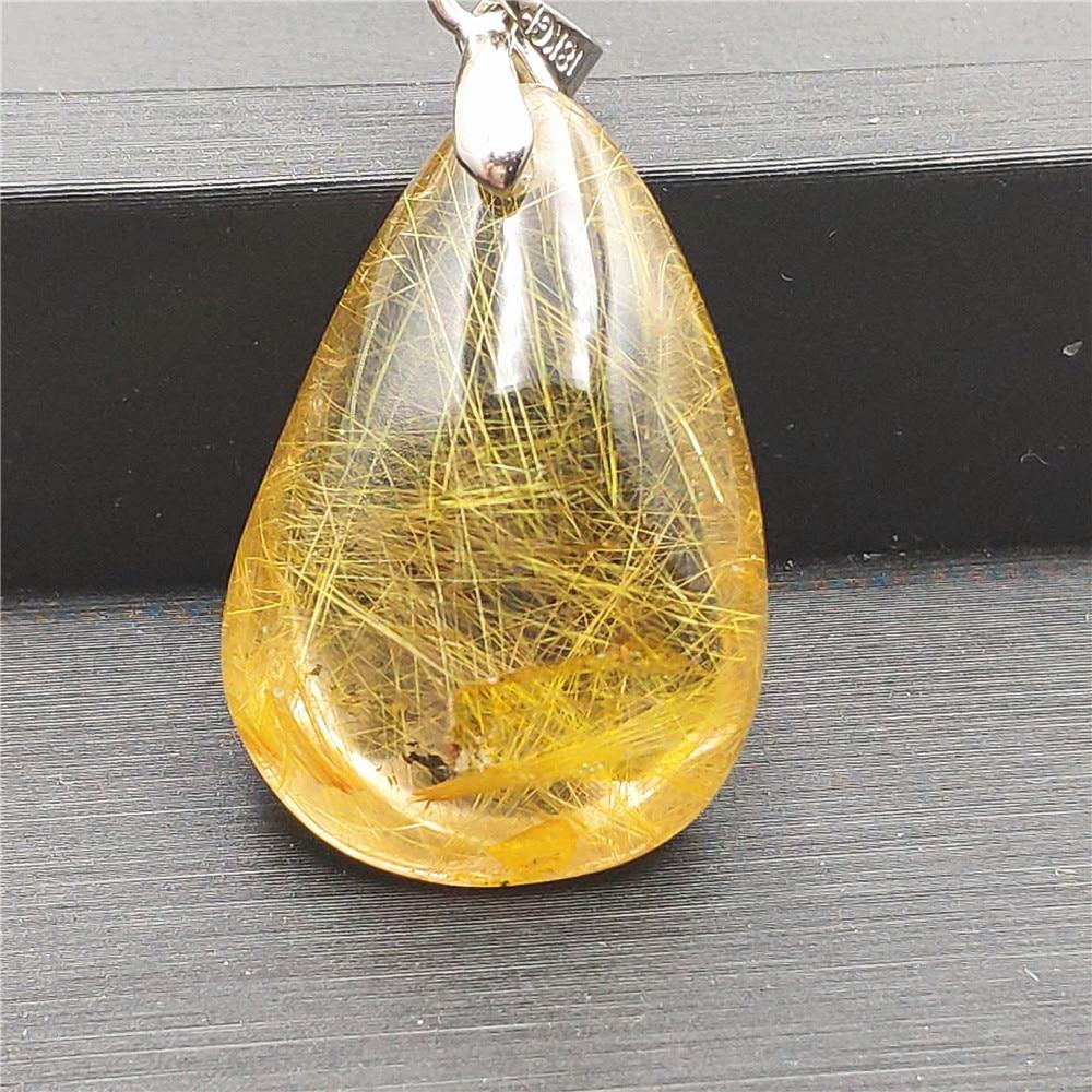 Natural Gold Rutilated Quartz Pendant (2)