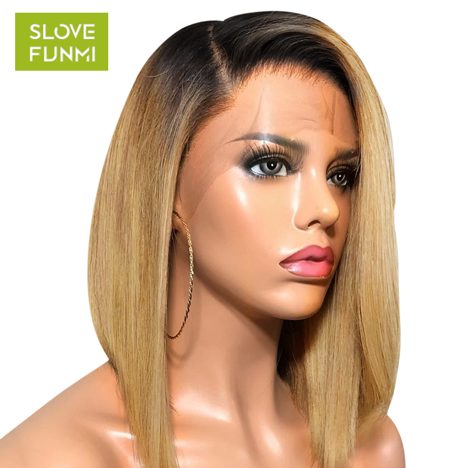 13x4 1B/27Red Ombre Lace Front Human Hair Wigs For Women Black Pre Plucked Brazilian Short Bob Lace Front Wig Bleached Knots